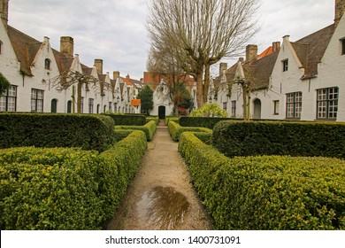 Brugge, Belgium -April 12, 2018 - 17th century Godshuizen (Almshouse) in Brugge (Bruges), Belgium