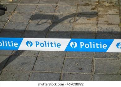 BRUGGE, BELGIUM - CIRCA JUNE 2016: Politie (meaning Police) line
