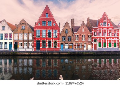 Brugge, Belgium - July 16, 2017: Colorful ancient houses in Brugge. Famous destination in Belgium.