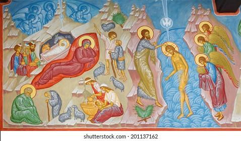 BRUGGE, BELGIUM - JUNE 13, 2014: Fresco of the Nativity scene and Baptism of Christ scene in st. Constanstine and Helena orthodx church (2007 - 2008).