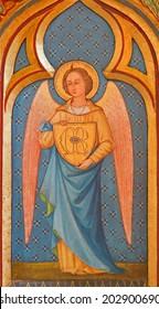 BRUGGE, BELGIUM - JUNE 13, 2014: Archangel Michael paint from side altar in st. Giles (Sint Gilliskerk).