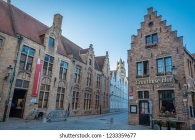 Brugge, Belgium - Nov 12, 2018: Sint-Salvatorskathedraal and flemish architecture
