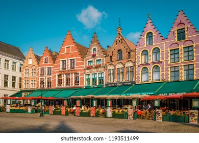 Brugge Belgium September 2018, colorful house at the old city of Brugge with restaurants at the square