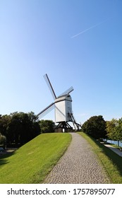 BRUGGE,BELGIUM AUG 12 2017 windmill with blue sky background in Brugge, Belgium