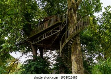 Bruggelette, Belgium - August 23, 2018: Theme Park Pairi Daiza. Tree house