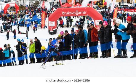 Bruksvallarna, Sweden - April 8, 2017: Winners Ebba Andersson, Solleftea Skiing IF, at the finish in the ski race Fjalltoppsloppet (mountain top race) 35 km in Bruksvallarna