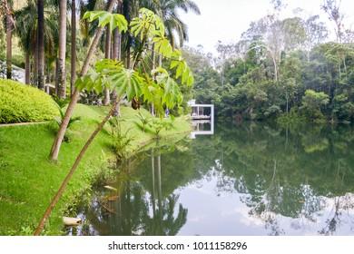 Brumadinho, Brazil - Dec 27, 2017: Inhotim Institute is a contemporary art museum and botanic garden - True Rouge by Artist, Tunga