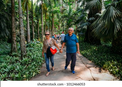 Brumadinho, Brazil, Dec 27, 2017: Visitors at Inhotim Institute, a museum and botanical garden, located in Brumadinho in the Brazilian state of Minas Gerais