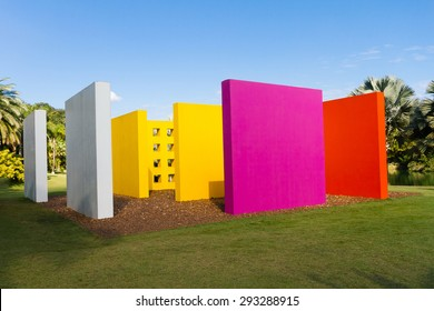 BRUMADINHO, BRAZIL - JUNE 17 - Garden Center of Contemporary Art Inhotim and artwork Invention of Colour Penetrable Magic Square by Helio Oiticica de Luxe, on June 17 2015, Brumadinho Brazil