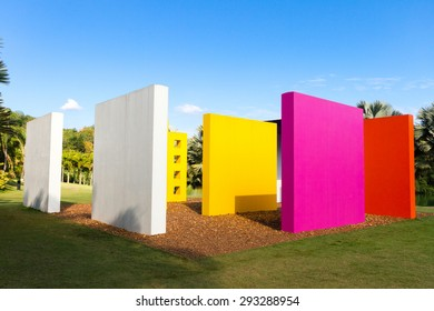 BRUMADINHO, BRAZIL - JUNE 17 - Garden Center of Contemporary Art Inhotim and artwork Invention of Colour Penetrable Magic Square by Helio Oiticica de Luxe, on June 17 2015, Brumadinho Brazil