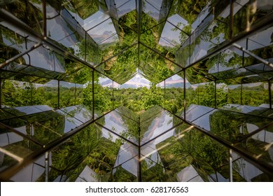 BRUMADINHO, BRAZIL - Oct 14, 2015: Caleidoscope view of Viewing Machine by Olafur Eliasson at Inhotim Public Contemporary Art Museum - Brumadinho, Minas Gerais, Brazil