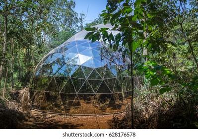 BRUMADINHO, BRAZIL - Oct 14, 2015: Dome of De Lama Lamina by Matthew Barney at Inhotim Public Contemporary Art Museum - Brumadinho, Minas Gerais, Brazil Matthew Barney