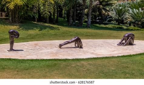 BRUMADINHO, BRAZIL - Oct 14, 2015: Untitled Sculptures by Edgard de Souza at Inhotim Public Contemporary Art Museum - Brumadinho, Minas Gerais, Brazil