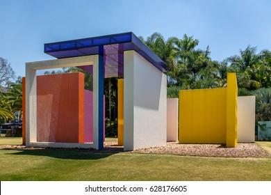 BRUMADINHO, BRAZIL - Oct 14, 2015: Invention of Colour Penetrable Magic Square by Helio Oiticica at Inhotim Public Contemporary Art Museum - Brumadinho, Minas Gerais, Brazil