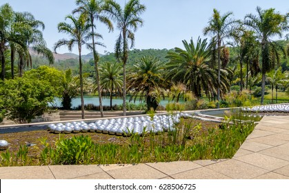 BRUMADINHO, BRAZIL - Oct 14, 2015: Narcissus Garden by Yayoi Kusama at Inhotim Public Contemporary Art Museum - Brumadinho, Minas Gerais, Brazil
