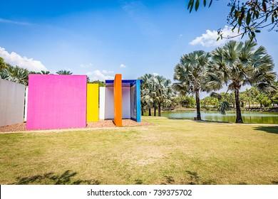 BRUMADINHO, BRAZIL - OCTOBER, 15, 2017: Invention of Colour Penetrable Magic Square by Helio Oiticica at Inhotim Institute, Minas Gerais