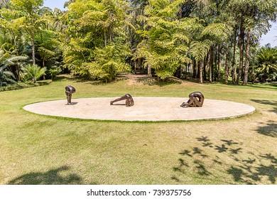BRUMADINHO, BRAZIL - OCTOBER, 15, 2017: No title instalation by Edgard de Souza at Inhotim Institute, Minas Gerais