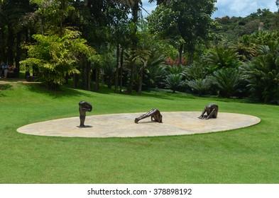 BRUMADINHO, INHOTIM, MINAS GERAIS/BRAZIL - FEBRUARY 2013: Inhotim piece of art, untitled sculptures by Edgard de Souza, Inhotim, Minas Gerais/Brazil.