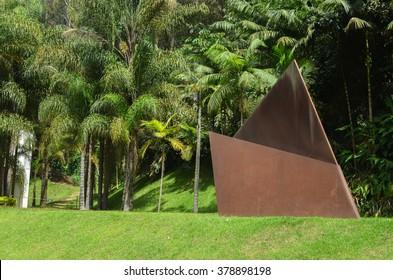 BRUMADINHO, INHOTIM, MINAS GERAIS/BRAZIL - FEBRUARY 2013: Inhotim piece of art, Gigante Dobrada, 2002, Amilcar de Castro, Inhotim, Minas Gerais/Brazil.