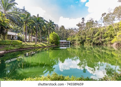 Brumadinho, Minas Gerais, Brazil. View of Inhotim Gardens and lake