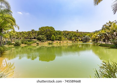 Brumadinho, Minas Gerais, Brazil. View of Inhotim Gardens and lake