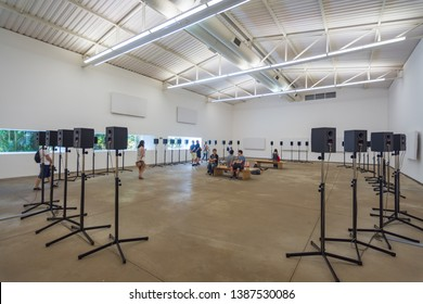 Brumadinho/MG/Brazil - May 01st 2019: Forty Part Motet Plays the Salisbury Choral by the Artist Janet Cardiff, located in Inhotim Institute, Largest Open Air Museum in the World
