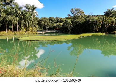 Brumadinho/Minas Gerais/Brazil - MAR 23 2013: Fourth Partial view of the Central Lake of Inhotim