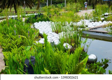 Brumadinho/Minas Gerais/Brazil - NOV 01 2017: First Partial View of the Narcissus Garden in Inhotim by Yayoi Kusama