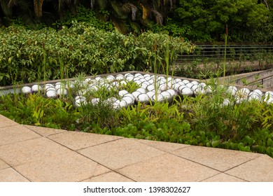 Brumadinho/Minas Gerais/Brazil - NOV 01 2017: Fourth Partial View of the Narcissus Garden in Inhotim by Yayoi Kusama