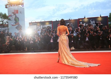 Bruna Marquezine walks the red carpet ahead of the 'The Sisters Brothers' screening during the 75th Venice Film Festival at Sala Grande on September 2, 2018 in Venice, Italy.