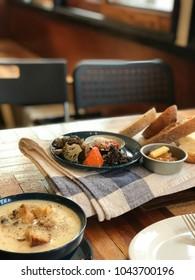 A brunch with delicious potato soup
