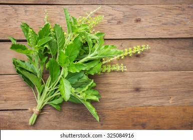A brunch of holy basil leaf on  wooden board