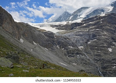 The Brunegg Glacier below the Weisshorn in the Southern Swiss Alps