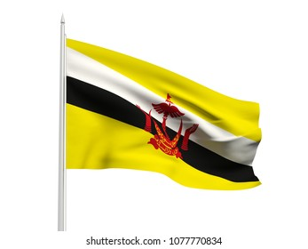Brunei flag floating in the wind with a White sky background. 3D illustration.