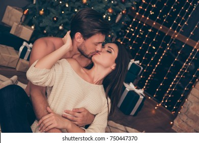 Brunet partner with bristle hold cuddle his brunette from back, cute feelings, horny hot naughty passion, temptation pleasure, celebrate christmastime, gifts, boxes, presents, tape ribbon bows