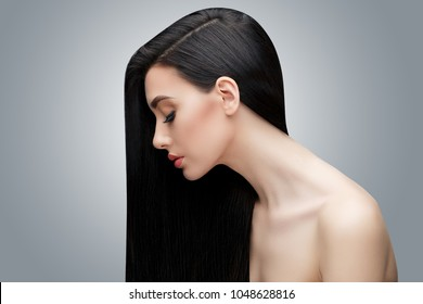 Brunette asian girl with long straight hair
