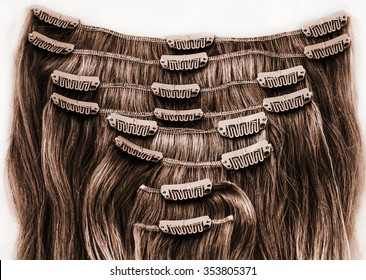 Brunette brown clip in hair extension. 8 pieces.