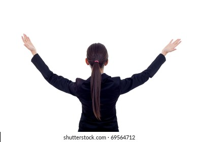 brunette business woman with her hands in the air - back picture