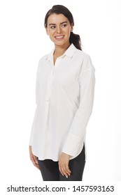 brunette business woman in white official formal blouse with ruches close up photo isolated on white