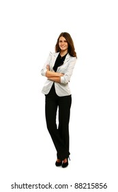 Brunette businesswoman with folded arms isolated