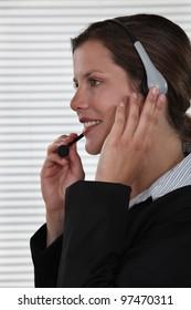 Brunette call-center worker