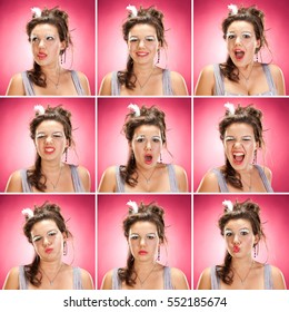 brunette caucasian vintage dancer woman collection set of face expression like happy, sad, angry, surprise, yawn on pink