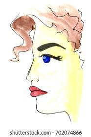 Brunette girl beautiful drawing