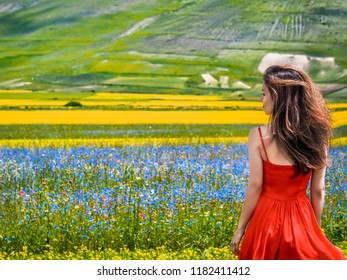 A brunette girl with long hair fluttering in the wind with a red dress stands in the flowering fields of Umbria, in Castelluccio di Norcia, in front of him a blooming landscape with many flowers