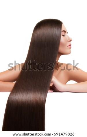 Brunette Girl Long Shiny Straight Hair Stock Photo Edit Now