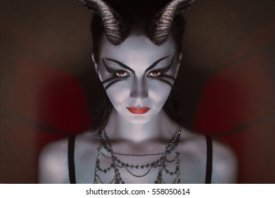 brunette girl with red horns, sweet devil, the Queen of death and pain, cold eyes, dangerous succubus, knight of hell