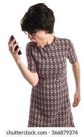 Brunette girl talking to mobile