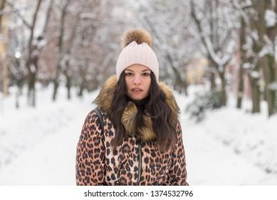 brunette girl winter portrait.