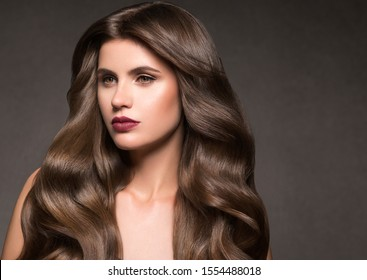Brunette hair woman beauty hairstyle close up beauty hair