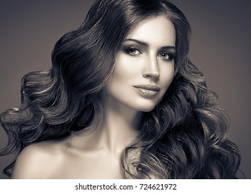 Brunette Hair Woman Beauty Skincare Portrait. Spa Salon Girl Woman Perfect Model. Beautiful Long Blonde Hair Hairstyle look. Black and white Studio Closeup Face.